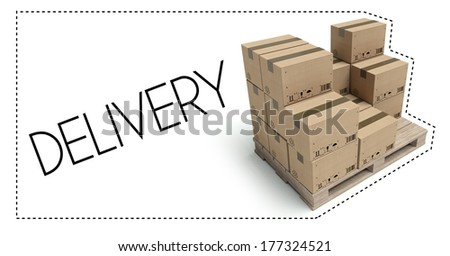 Transportation concept, Delivery of wooden pallet with cardboard boxes - stock photo