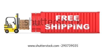 Transportation Concept. Forklift Loaded Cardboard Boxes in Free Shipping Container on a white background  - stock photo