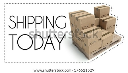 Transportation concept, Shipping today of wooden pallet with cardboard boxes - stock photo