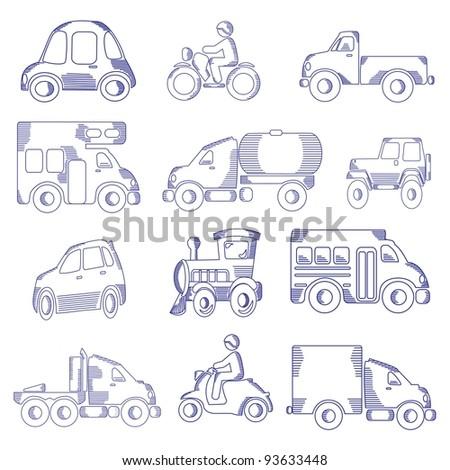 Transportation Doodle Icon Set - stock photo