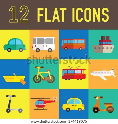 transportation flat icon - stock photo