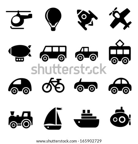 Transportation icons - stock photo