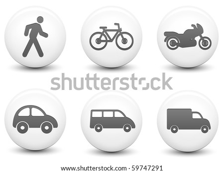 Transportation Icons on Round Black and White Button Collection Original Illustration - stock photo