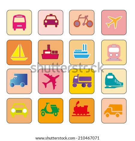 Transportation icons,transport icons - stock photo
