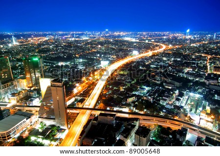 Transportation in city town at night, View Point on a Sky Bar at Sirocco, Bangkok, Thailand - stock photo