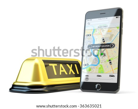 Transportation network app, calling a cab by mobile phone concept, modern smartphone with application for online taxi service order on screen and yellow taxi sign isolated on white - stock photo