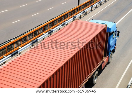 Transportation of cargoes by lorry - stock photo