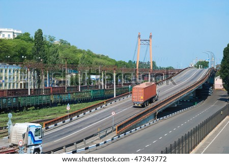 Transportation of cargoes. Truck on road - stock photo