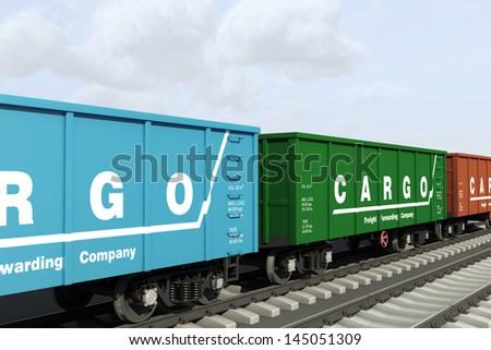 Transportation of freight rail wagons. - stock photo