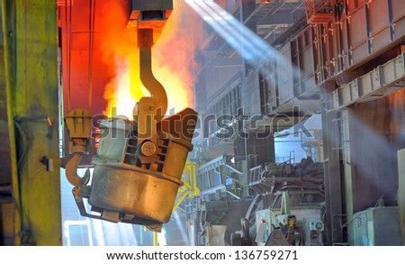 transportation of liquid metal - stock photo