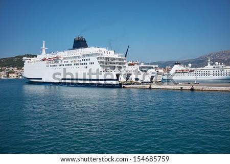 Transportation On The Sea - Large ferryboat - stock photo