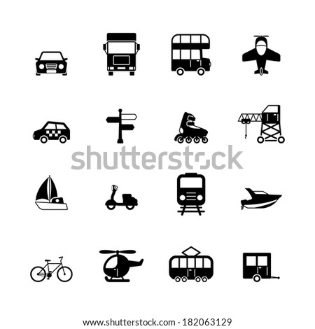 Transportation pictograms collection of aircraft boat yacht helicopter isolated  illustration - stock photo