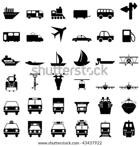 Transportation set of different web icons
