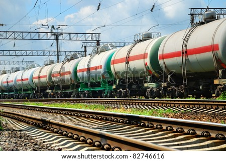 transportation tank cars with oil - stock photo