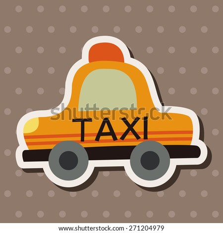 Transportation taxi icon cartoon stickers icon - stock photo