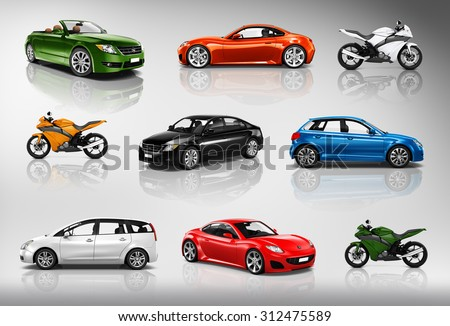 Transportation Vehicle Car Motorcycle Performance Concept - stock photo