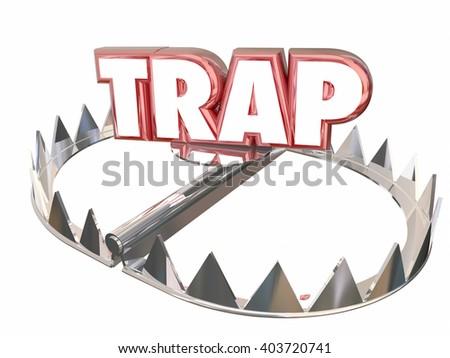 Trap Ambush Risk Danger Avoid Bear 3d Word - stock photo
