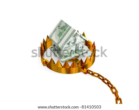 Trap with a small house made of money. 3d rendered. Isolated on white background. - stock photo