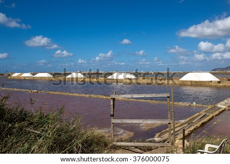 Trapani - The ancient sicilian salt evaporation pans. The ponds are commonly separated by levees. Nubia, Sicily