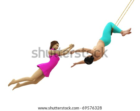 Trapeze artists in flight isolated - stock photo