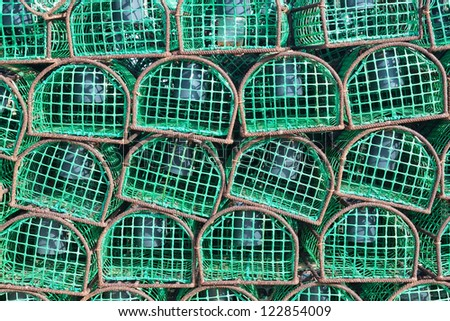Traps fishing for octopus and fish, close-up. - stock photo