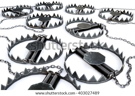 Traps isolated on a white background. 3D illustration. - stock photo