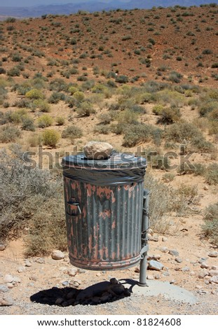 Trash bin at Valley of Fire State Park - stock photo