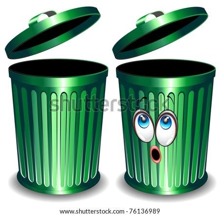 Trash Bin Cartoon - stock photo