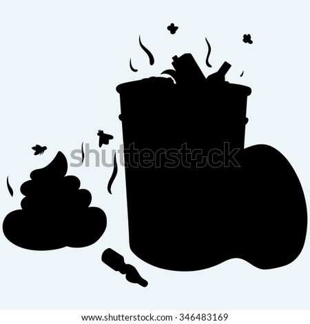 Trash bin full of garbage and feces. Isolated on blue background. Raster silhouettes - stock photo