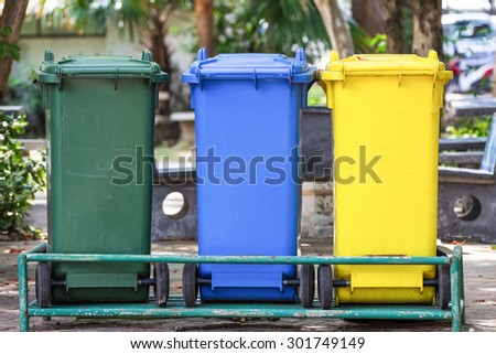 Trash bin three - stock photo