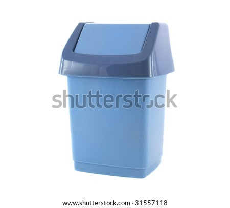 Trash Blue Container for Garbage Isolated Over White - stock photo