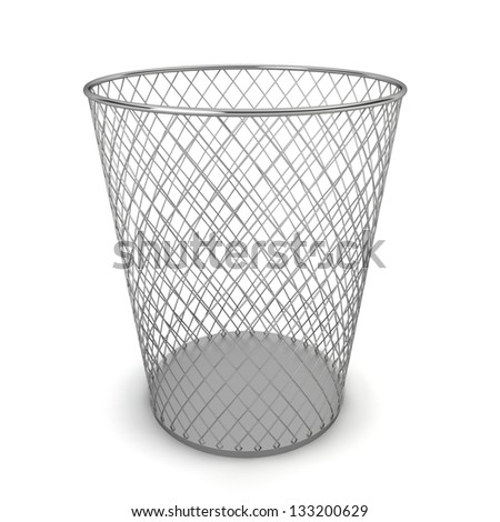 Trash can. 3d illustration on white background - stock photo
