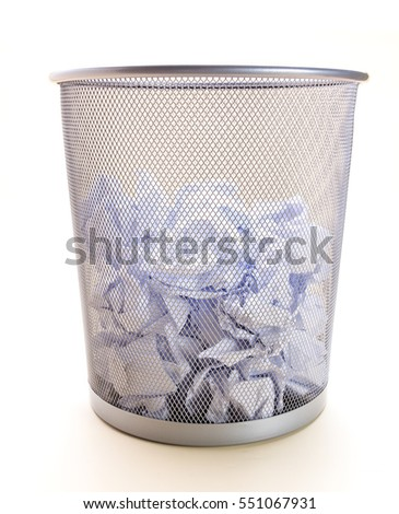 Trash can filled with half of crumbled paper isolated on white background