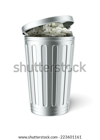 Trash can full of dollar bills