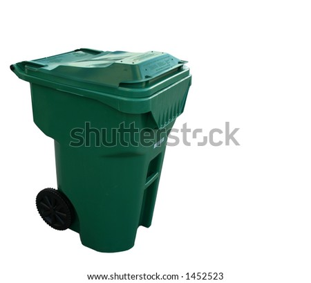 Trash Can - Green. Isolated - stock photo