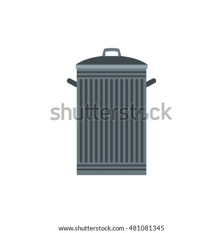 Trash can icon in flat style isolated on white background