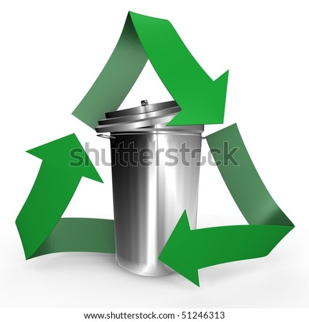 Trash can inside the recycle symbol - a 3d image - stock photo