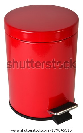 Trash can, isolated against white background. - stock photo