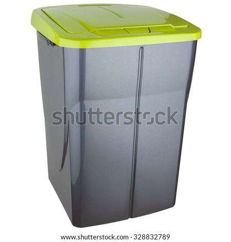 Trash can made of gray plastic with green lid