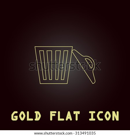 Trash can. Outline gold flat pictogram on dark background with simple text. Illustration trend icon