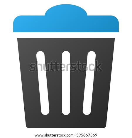 Trash Can raster toolbar icon. Style is gradient icon symbol on a white background. - stock photo