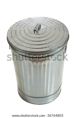 Trash can with lid on white - stock photo