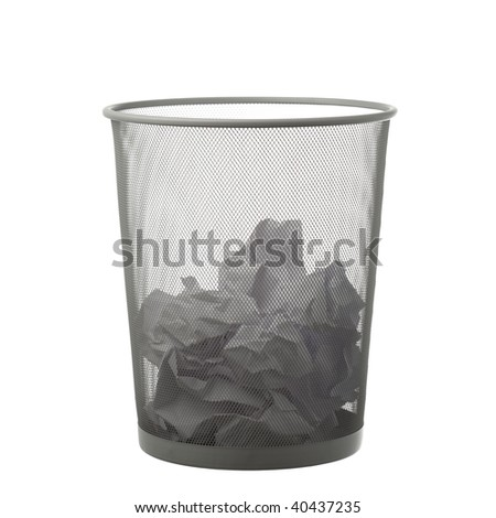 trash can with paper - stock photo