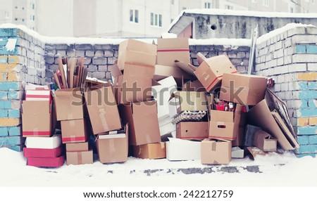 Trash cardboard boxes - stock photo
