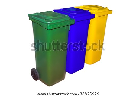 Trash Containers for Garbage Separation, three colors for plastic, metal and burnables - stock photo