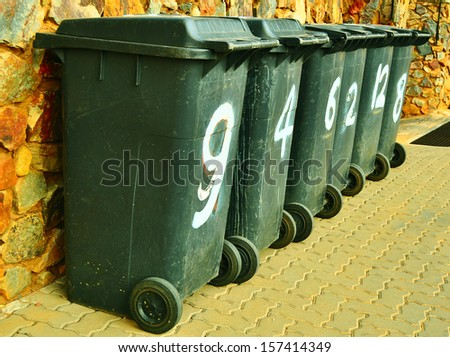 Trash Containers on the Street - stock photo