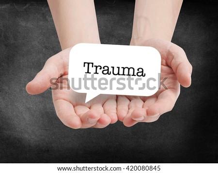 Trauma written on a speechbubble - stock photo