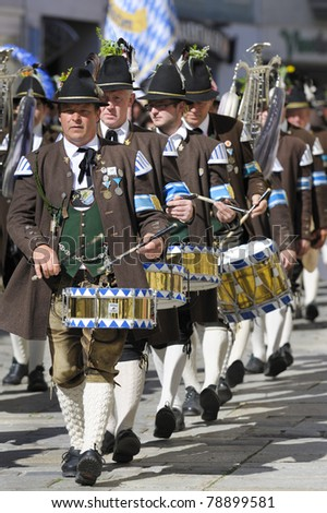 TRAUNSTEIN, GERMANY - MAY 8:  annual public parade of ca. 3500 performers in historical costumes and musicians in commemoration of ancient bavarian soldiers - May 8, 2011 in Traunstein, Germany