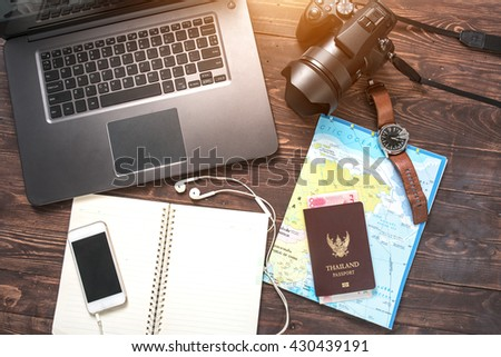 Travel accessories Passports, luggage, travel expenses maps prepared for the trip.