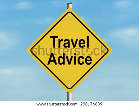 Travel advice. Road sign on the sky background. Raster illustration. - stock photo